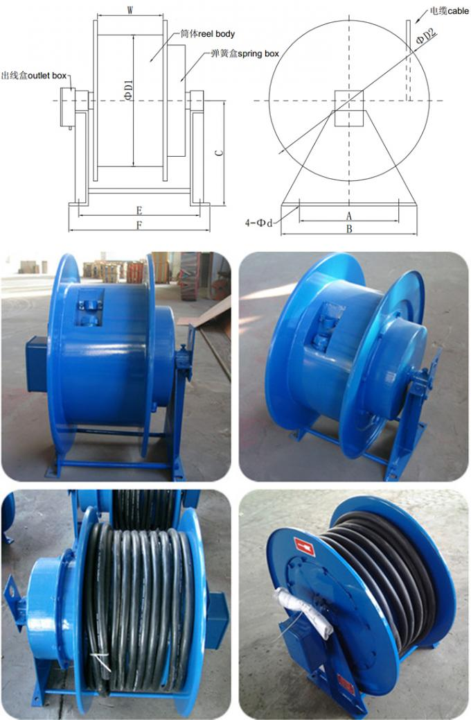 Low Noise Spring Loaded Cable Reel , Electric Hose Reels Roller Small Friction