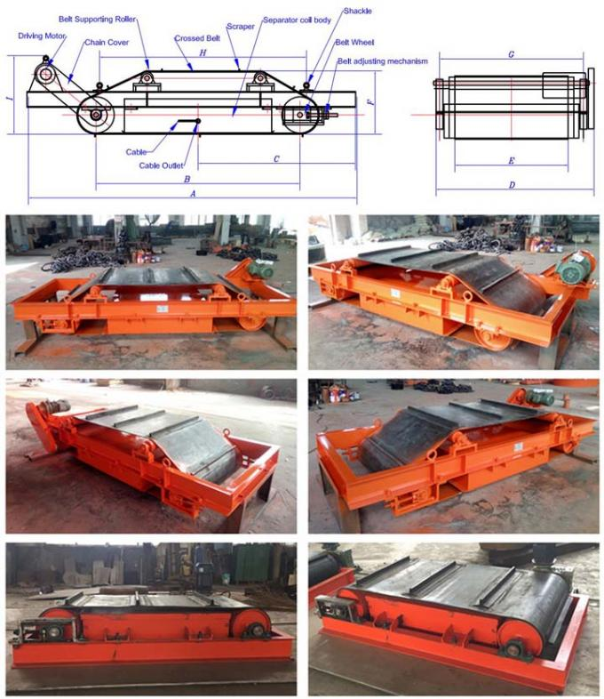 Self Cleaning Overband Magnetic Separator Belt Type For Handling Iron Materials